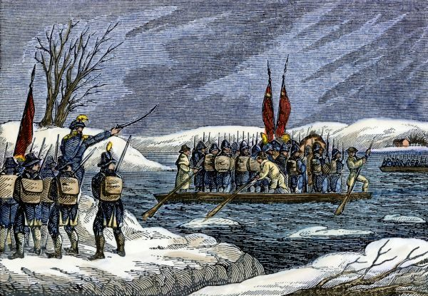 Continental Army crossing the Delaware River at night to attack Trenton, December 1776. Hand-colored woodcut of a 19th-century illustration