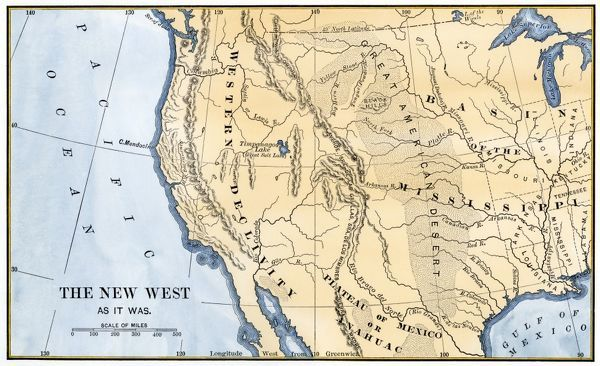 Western US Frontier Early S Map Of The Western Frontier In - 1800s world map