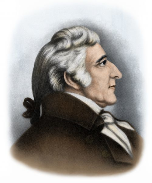 William Whipple, a signer of the Declaration of Independence from New Hampshire. Digitally colored printed halftone reproduction of an illustration