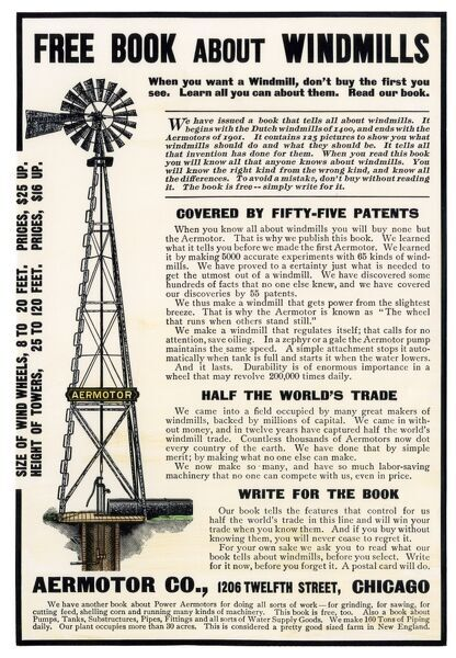 Windmill ad, about 1900