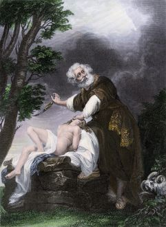 Abraham about to sacrifice his son