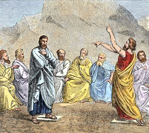 Aeropagus debating in ancient Athens
