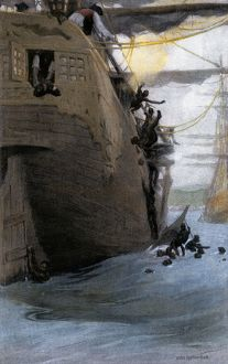 Africans jumping from a slave ship, 1700s