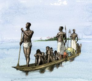 Africans taken by canoe to be sold as slaves