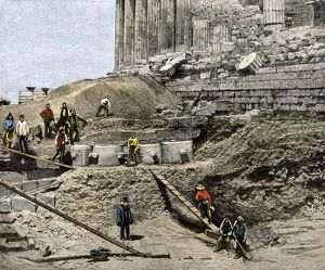 Archaeological excavation on the Acropolis, 1890s