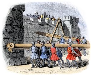 Battering rams used in a medieval siege
