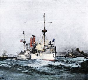 Battleship 'Maine' entering Havana harbor, 1898
