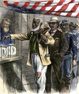 Black citizens casting their first ballots, 1867