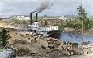 Buffalo Bayou, which became the Houston Ship Canal, 1870s