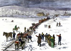 Building the railroad to Bismarck, North Dakota, 1870s