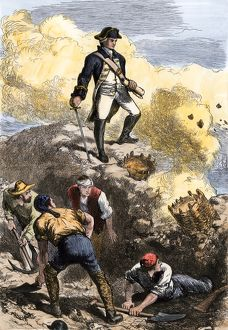 Bunker Hill defended by American minutemen, 1775
