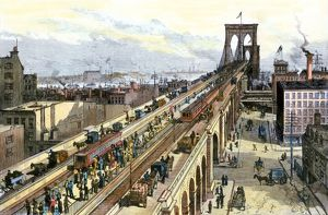 Busy Brooklyn Bridge the year it opened, 1883