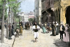 Busy Cairo street in the late 1800s