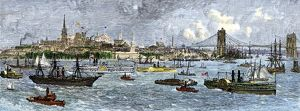 Busy New York harbor, 1880s