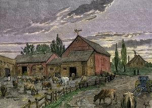 Canadian farm on the frontier, 1800s