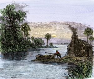 Carolina colonist traveling by boat