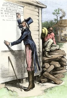 Cartoon about literacy tests in the South, 1870s