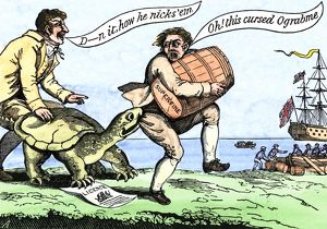 Cartoon protesting Jefferson's trade embargo, 1807