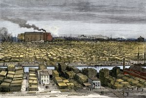 Chicago lumber wharves, 1880s