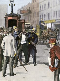 Chicago police arresting a suspect, 1890s