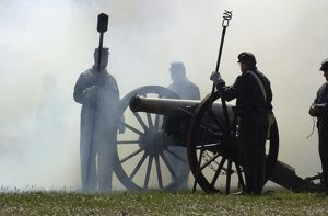 Civil War artillery reenactment at Shiloh battlefield, TN