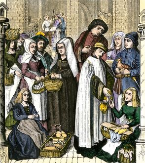 Clergy collecting tax from medieval merchants