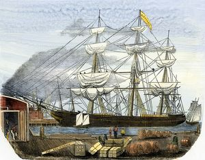 Clipper ship loading supplies for the California gold fields
