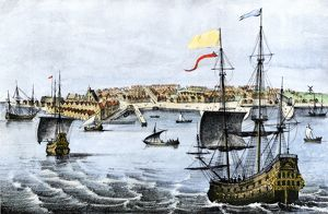 Colonial New York harbor, 1667