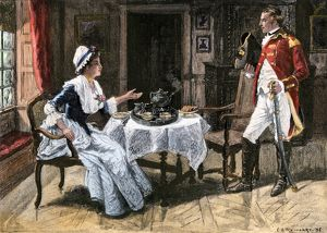 Colonial woman serving tea to a British officer