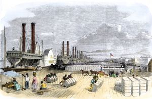 Cotton loaded on steamboats by black slaves, New Orleans