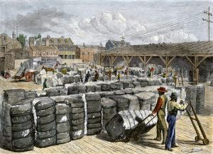 Cotton wharf in Charleston SC, 1870s