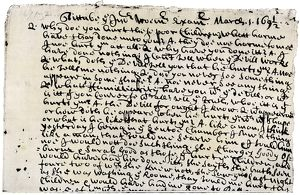 Court record of testimony at the Salem witch trials, 1692