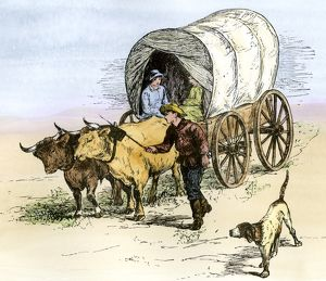 Covered wagon on the prairie