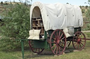 Covered wagon with supplies, South Dakota