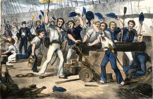 Crew of the USS Constitution in battle, War of 1812