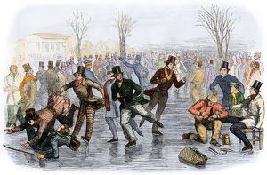 A crowded Boston skating pond, 1800s