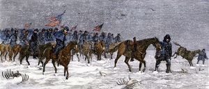 Custer advancing on the Cheyenne in a snowstorm, 1868