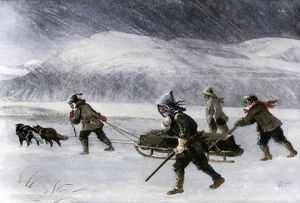 Dogsled traveling to the Alaska Gold Rush, 1898