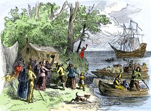 Dutch settlers arriving in New Amsterdam