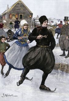 Dutch skaters on the Zuider Zee, 1800s