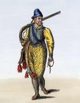 Dutch soldier armed with an arquebus