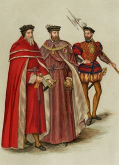 Elizabethan lords and a halberdier