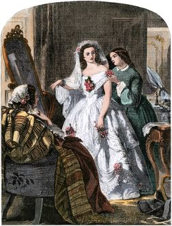 Final touches to the bride's wedding gown, 1850s