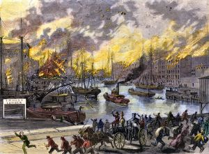 Flames reaching the waterfront, Chicago Fire, 1871