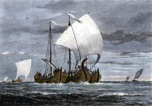 Fleet of Viking raiders in the Middle Ages