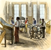 Freedmen in printing class at Hampton Institute, Virginia, 1870s