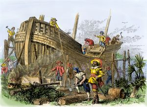 French colonists building a ship, South Carolina, 1560s