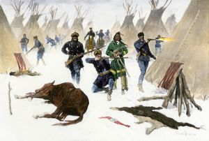 General Crooke's forces invading a Sioux village, 1877