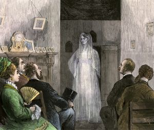 Ghost of Annie Morgan appearing before a seance, 1870s