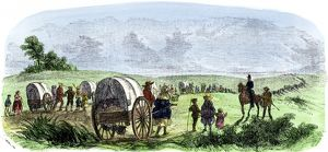 Hand-carts on the Mormon Trail to Utah